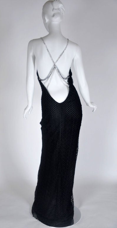 Vintage Gianni Versace Couture Black Lace Gown with Crystals 46 - 10 3