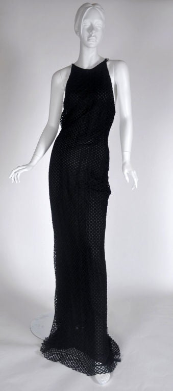 Vintage Gianni Versace Couture Black Lace Gown with Crystals 46 - 10 6