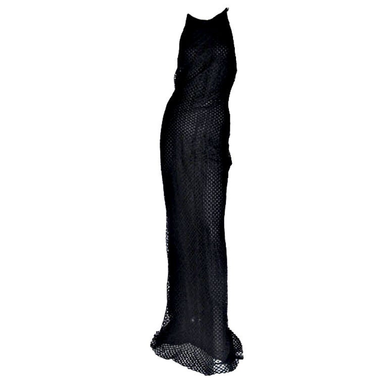 Vintage Gianni Versace Couture Black Lace Gown with Crystals 46 - 10 1
