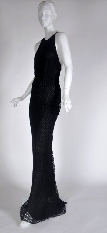 Vintage Gianni Versace Couture Black Lace Gown with Crystals 46 - 10 7