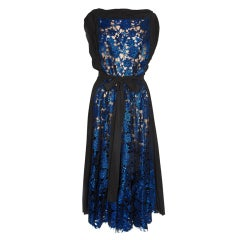 VIONNET BLUE METALLIC LACE DRESS RIHANNA & DIANE LOVE