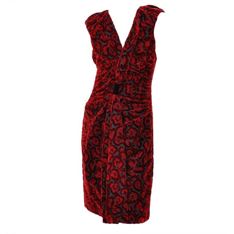 Prada Red Velvet Dress