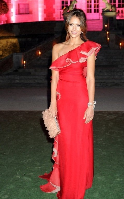 VALENTINO red ruffled silk-chiffon gown JESSICA ALBA got it too! 2