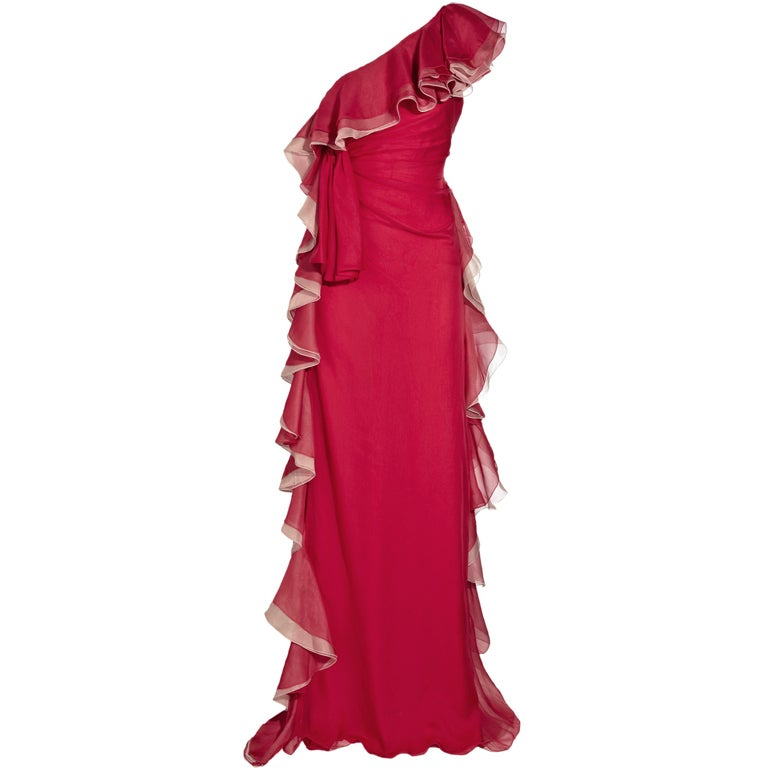 VALENTINO red ruffled silk-chiffon gown JESSICA ALBA got it too! 1