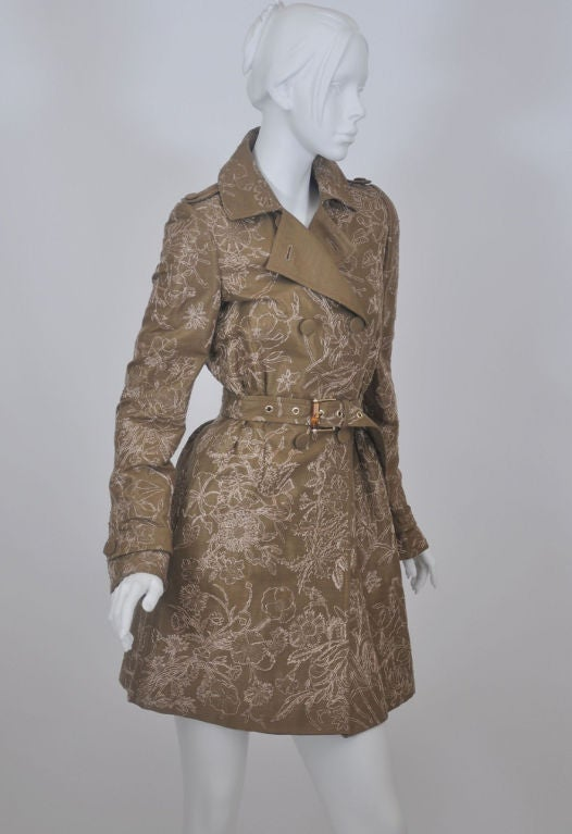 Brown Gucci Limited Edition Embroidered and Beaded Trench Coat For Sale