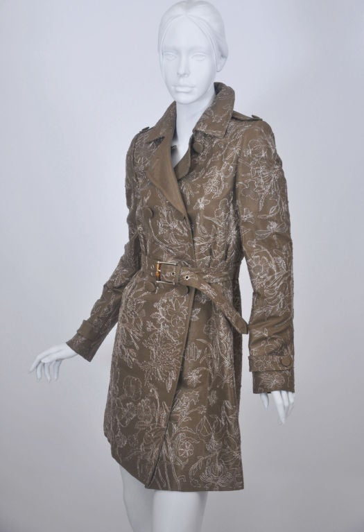 Gucci Limited Edition Embroidered and Beaded Trench Coat For Sale 1