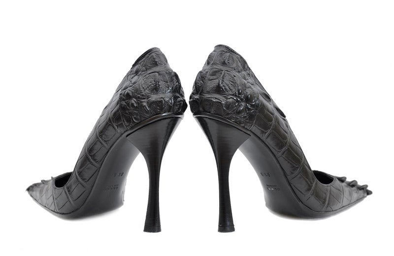 2002 VINTAGE TOM FORD for GUCCI BLACK ALLIGATOR SHOES  In New Condition For Sale In Montgomery, TX