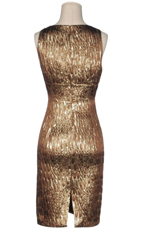 Gold Brocade Dress Image 3