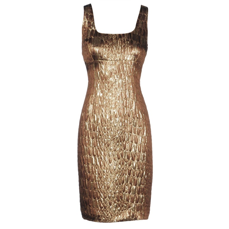 Michael Kors Gold Brocade Dress 1