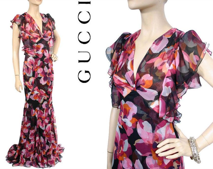 New GUCCI CYCLAMEN PRINT LONG SILK DRESS 40 - 6 3