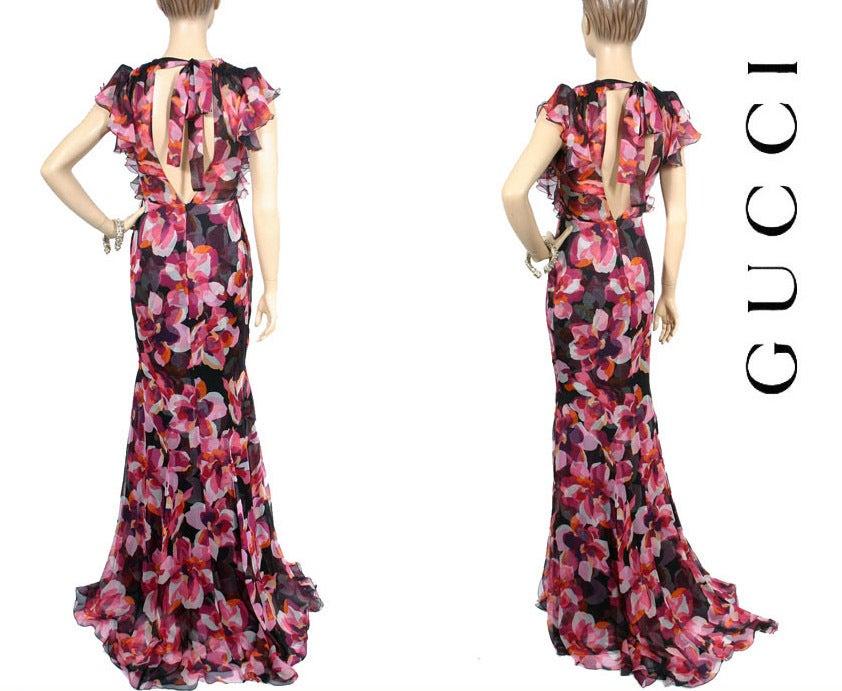 New GUCCI CYCLAMEN PRINT LONG SILK DRESS 40 - 6 4