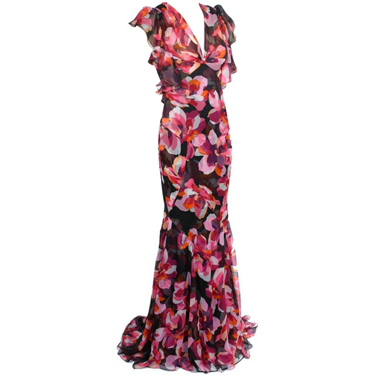 New GUCCI CYCLAMEN PRINT LONG SILK DRESS 40 - 6 1