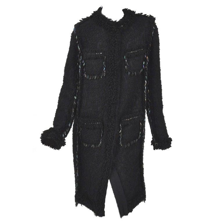 LANVIN black embellished boucle tweed coat 40 - 8