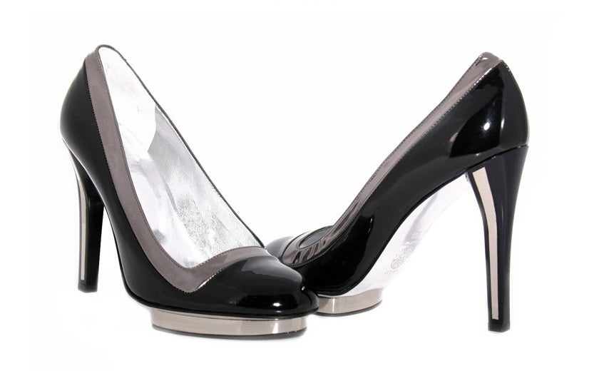 Black VERSACE BLACK PATENT LEATHER PLATFORM SHOES as seen in