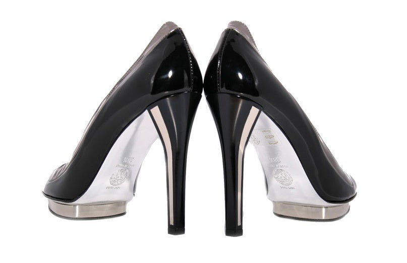 VERSACE BLACK PATENT LEATHER PLATFORM SHOES as seen in