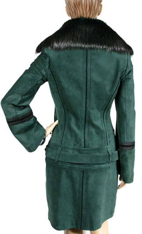 gucci green suede coat with fur collar at 1stdibs