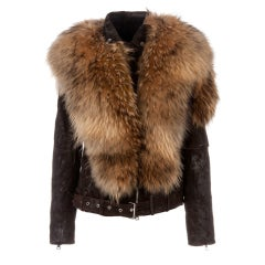 BALMAIN Fur-Leather Motorcycle Jacket thumbnail 1