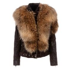 BALMAIN Fur-Leather Motorcycle Jacket