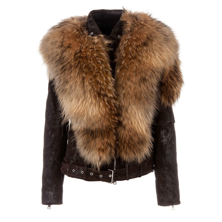 BALMAIN Fur-Leather Motorcycle Jacket