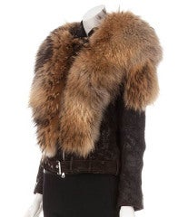 BALMAIN Fur-Leather Motorcycle Jacket thumbnail 2