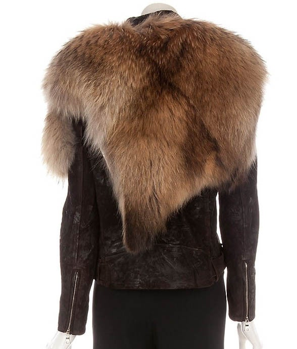 BALMAIN Fur-Leather Motorcycle Jacket image 3