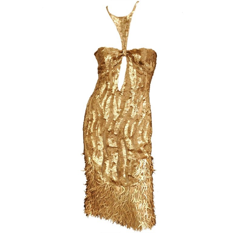Rare TOM FORD for GUCCI Gold Sequined Silk Dress 1