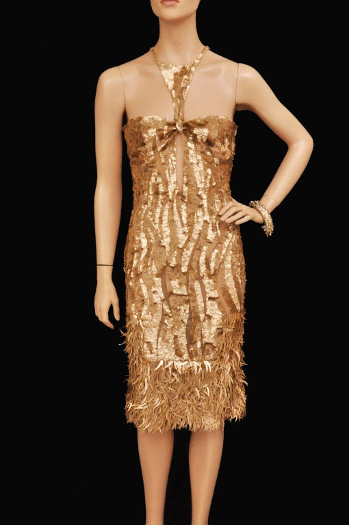 Rare TOM FORD for GUCCI Gold Sequined Silk Dress 2
