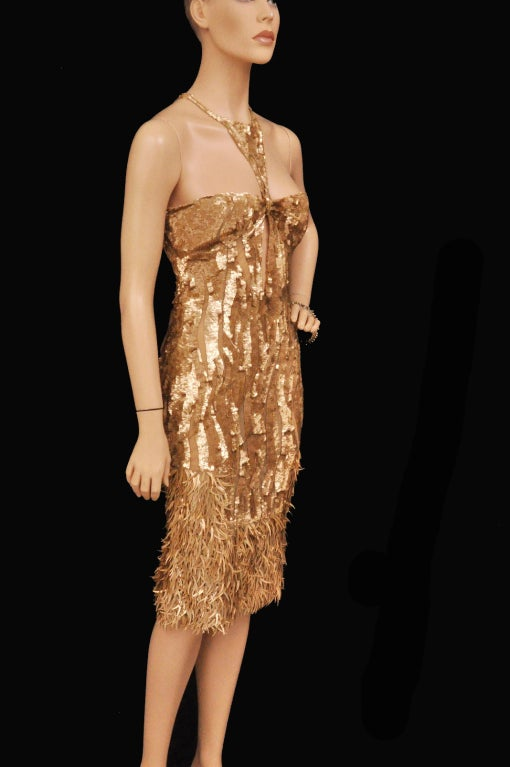 Rare TOM FORD for GUCCI Gold Sequined Silk Dress 3