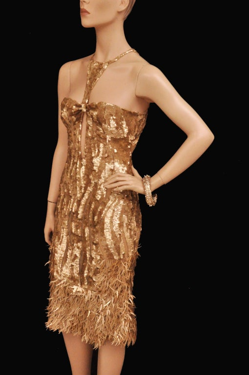 Rare TOM FORD for GUCCI Gold Sequined Silk Dress 4
