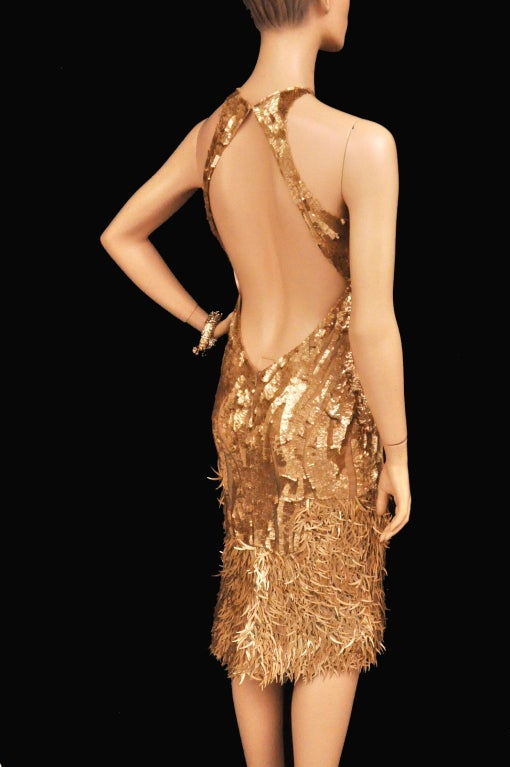 Rare TOM FORD for GUCCI Gold Sequined Silk Dress 5