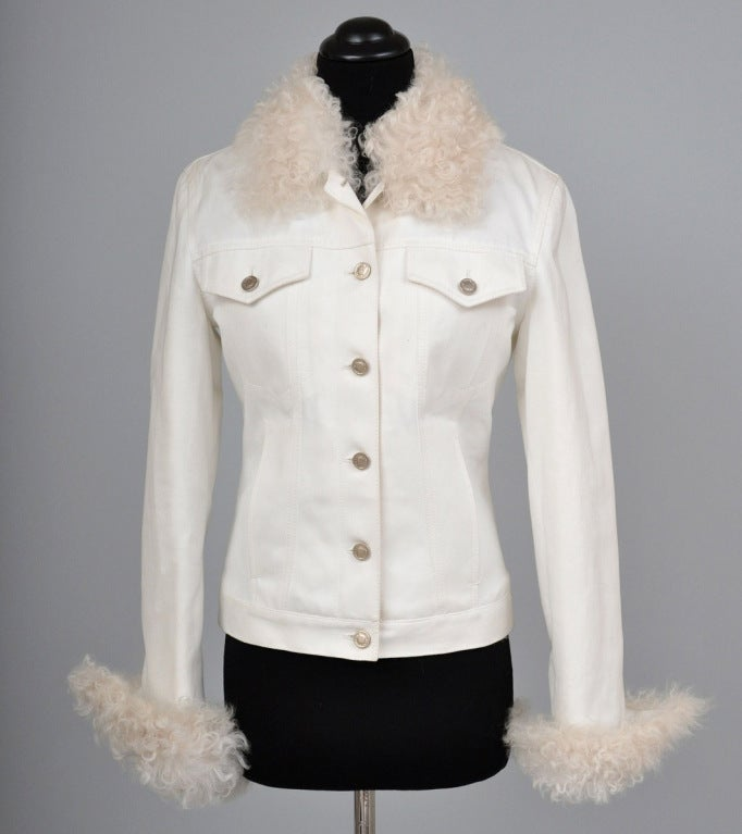 Tom Ford for Gucci White Denim and Lamb Fur Jacket In New Condition For Sale In Montgomery, TX