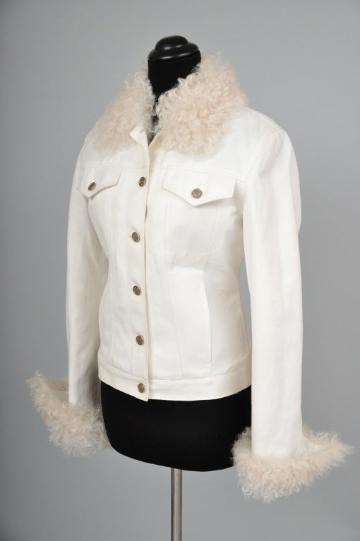 Gray Tom Ford for Gucci White Denim and Lamb Fur Jacket For Sale