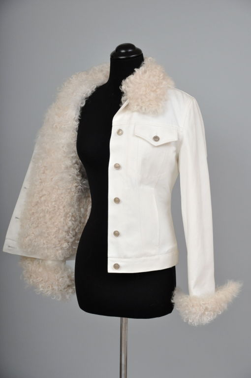 Women's Tom Ford for Gucci White Denim and Lamb Fur Jacket For Sale
