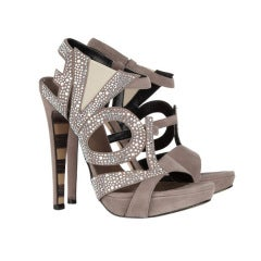 GEORGINA GOODMAN crystal-embellished LOVE suede sandals