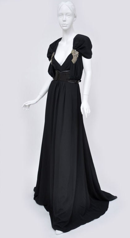 Gucci black gown with patent leather belt and crystals 3