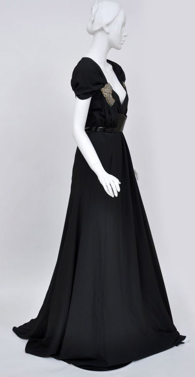 Gucci black gown with patent leather belt and crystals 5