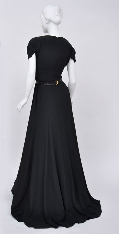 Gucci black gown with patent leather belt and crystals 6