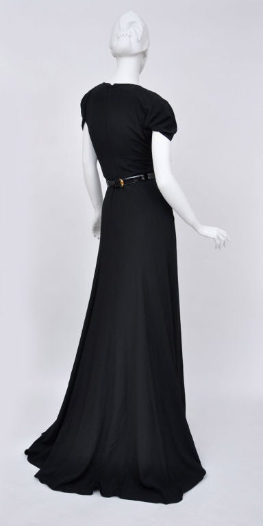 Gucci black gown with patent leather belt and crystals 7