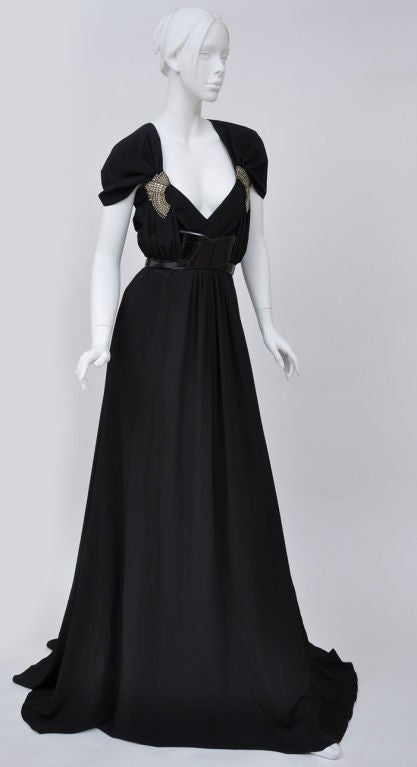 Gucci black gown with patent leather belt and crystals 2