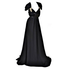 Gucci black gown with patent leather belt and crystals