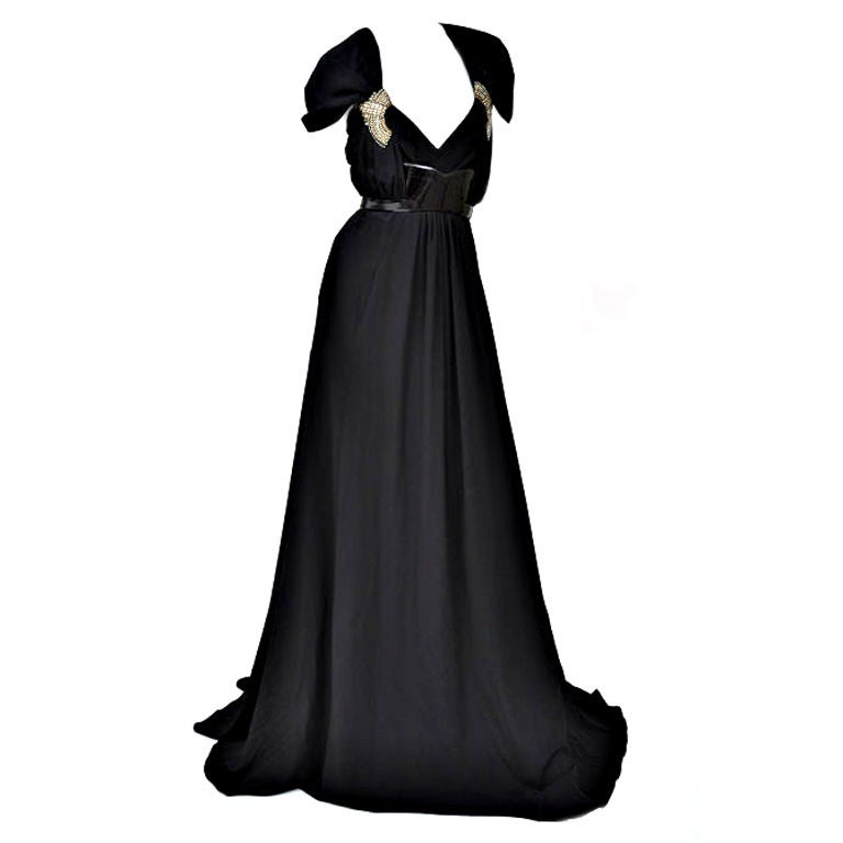 Gucci black gown with patent leather belt and crystals 1