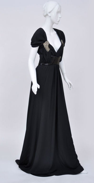 Gucci black gown with patent leather belt and crystals 4