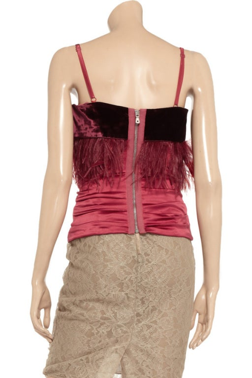 Brown Dolce & Gabbana Red Embellished Corset Top For Sale