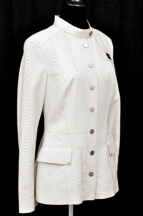 GIANNI VERSACE COUTURE PYTHON JACKET  This amazing jacket beautifully blends the tradition of luxury with modern chic. It combines clean lines and luxurious python skin. A perfect, modern rendition of a timeless classic.  Very comfortable and