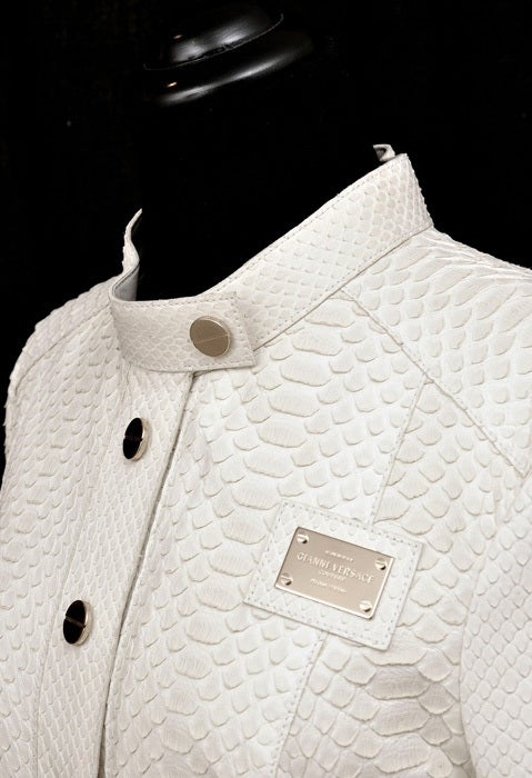 Gray New GIANNI VERSACE COUTURE WHITE PYTHON JACKET For Sale