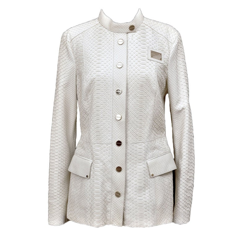 New GIANNI VERSACE COUTURE WHITE PYTHON JACKET For Sale