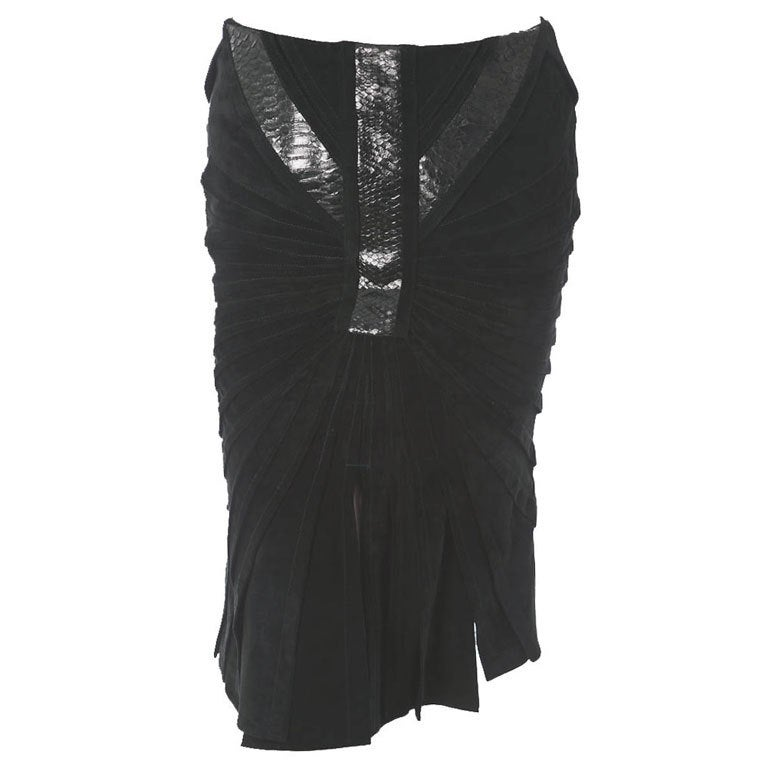 Tom Ford for Gucci leather skirt with python trim