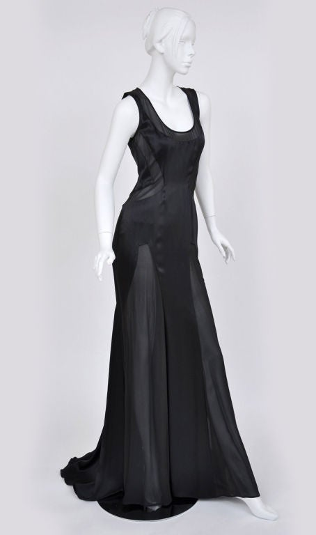 Versace black chiffon silk gown 2
