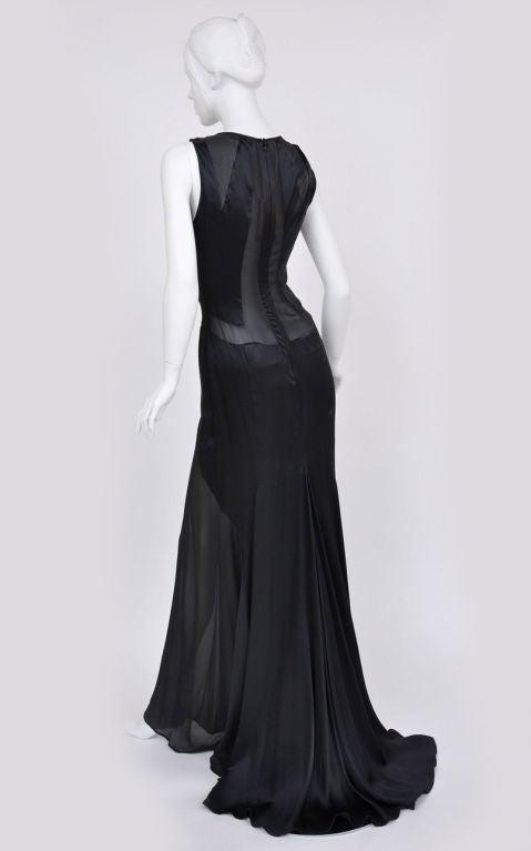 Versace black chiffon silk gown 3