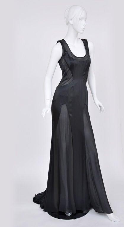 Versace black chiffon silk gown 4